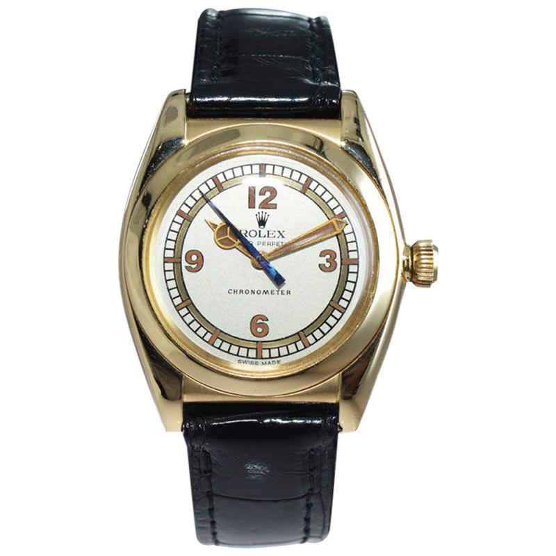 Rolex Watch Co. Bubble Back 18 Karat Solid Gold Rare 3-Piece Case from 1938