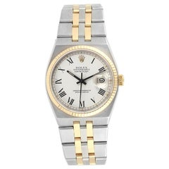 Rolex White 14K Yellow Gold and Stainless Steel Men's Wristwatch 36 MM