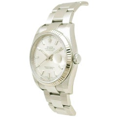 Rolex White 18K White Gold and Stainless Steel Datejust Men's Wristwatch 36MM