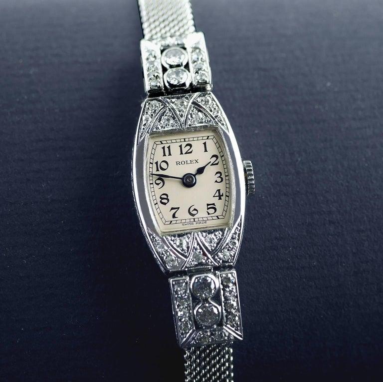 Rolex White Gold Diamond Art Deco Wristwatch, 1926 For Sale 6