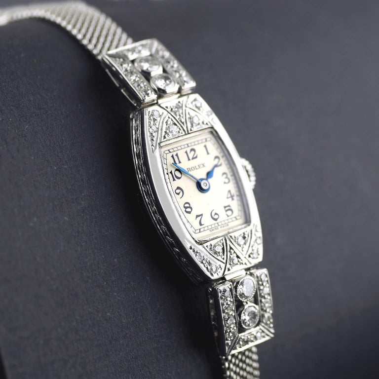 Rolex White Gold Diamond Art Deco Wristwatch, 1926 In Excellent Condition For Sale In London, GB