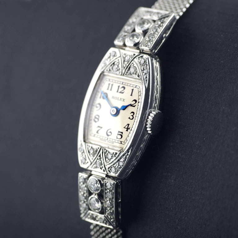 Women's Rolex White Gold Diamond Art Deco Wristwatch, 1926 For Sale