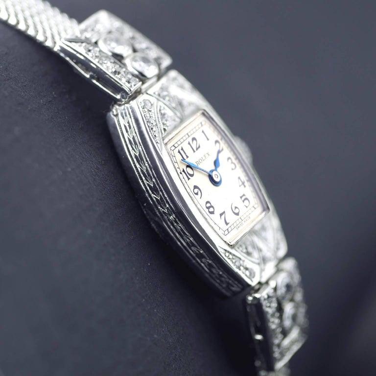 Rolex White Gold Diamond Art Deco Wristwatch, 1926 For Sale 1