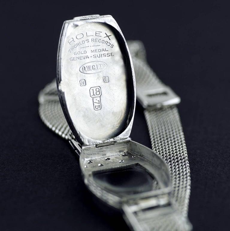 Rolex White Gold Diamond Art Deco Wristwatch, 1926 For Sale 3