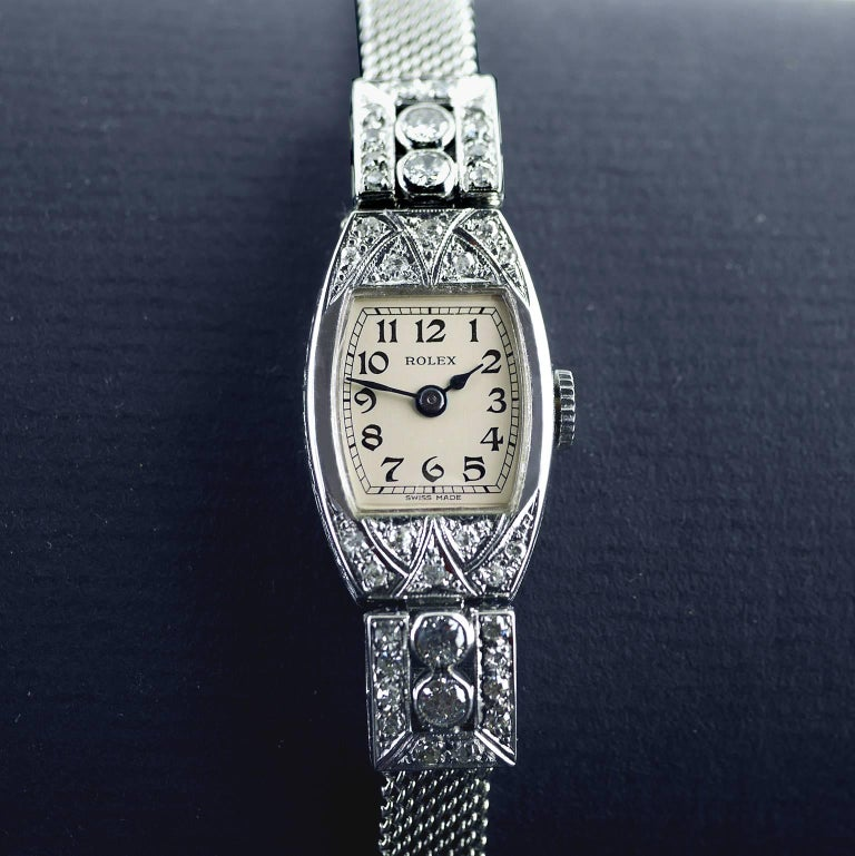 Rolex White Gold Diamond Art Deco Wristwatch, 1926 For Sale 5