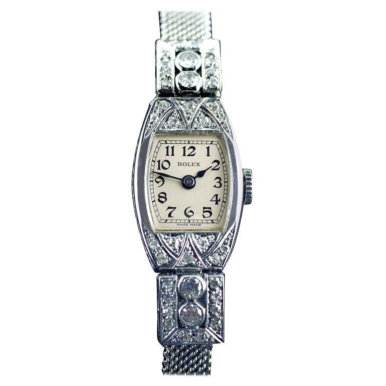 Rolex White Gold Diamond Art Deco Wristwatch, 1926 For Sale