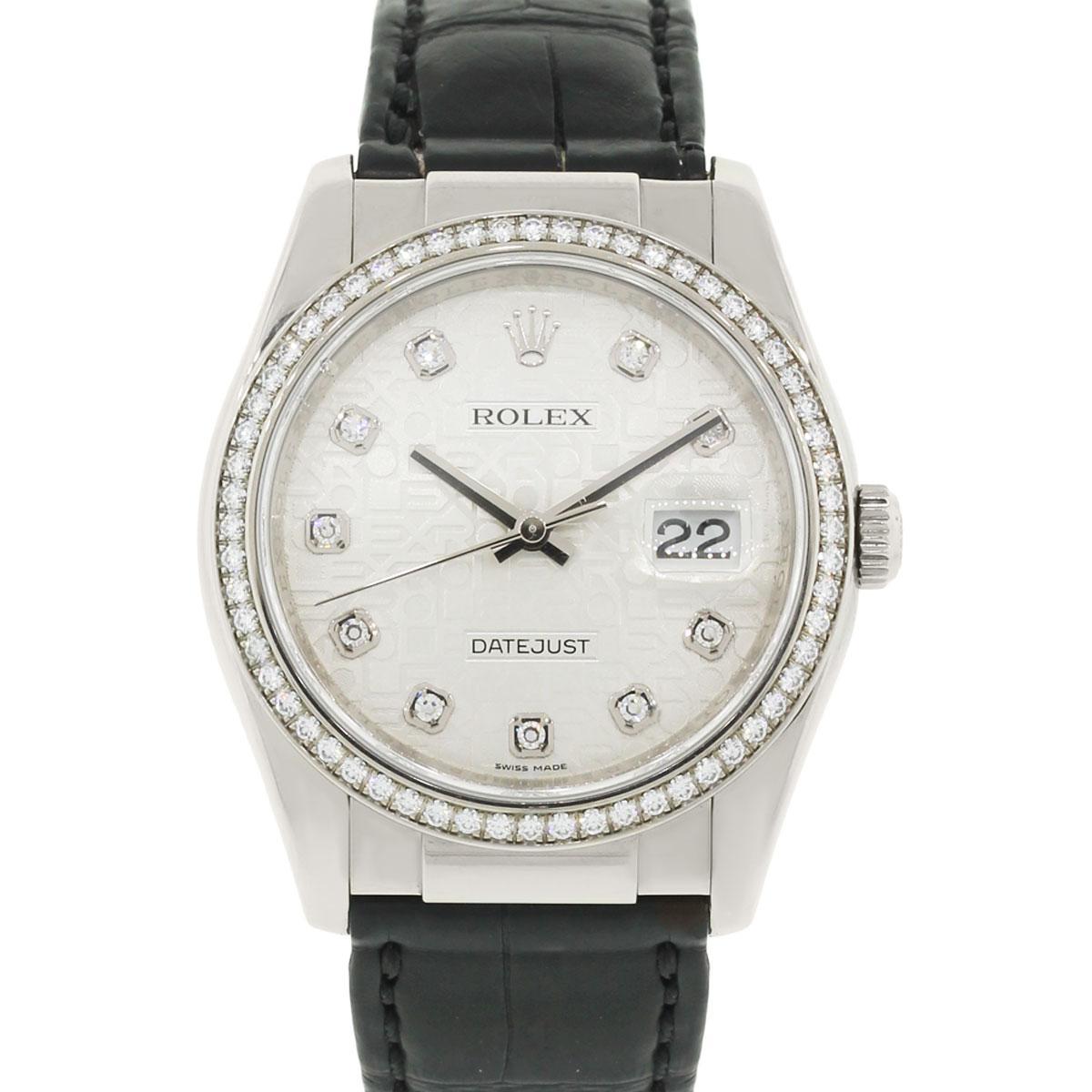 Rolex White Gold Diamond Datejust Automatic Wristwatch Ref 116189