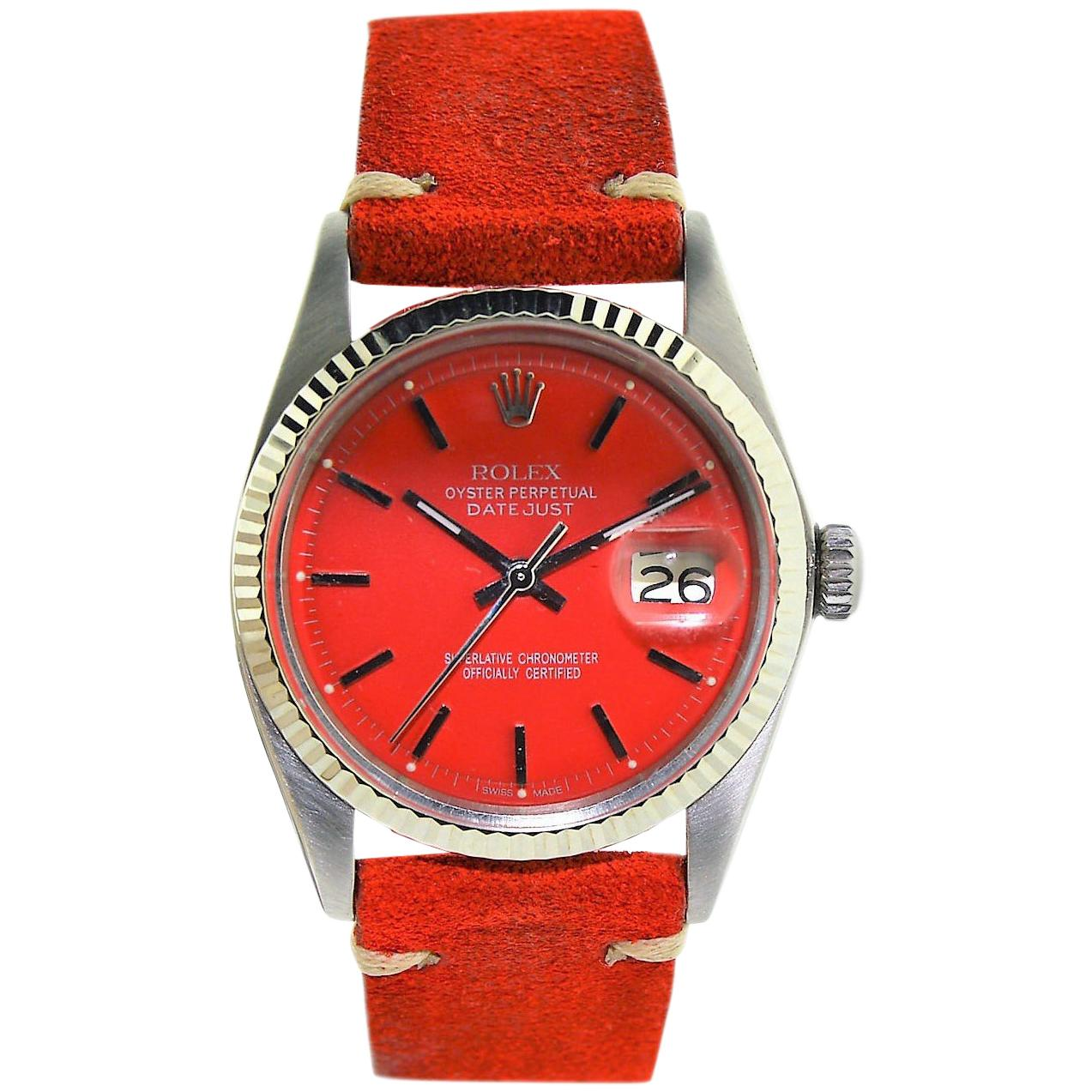 Rolex White Gold Stainless Steel Datejust Custom Red Dial Watch