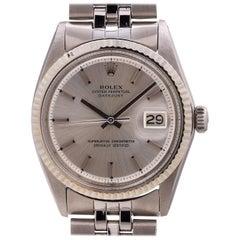 Rolex White Gold Stainless Steel Datejust self winding wristwatch Ref 1601