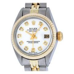 Rolex Women's Datejust 69173 Watch Steel / 18 Karat Gold White Diamond Dial