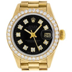 Rolex Women's Datejust President Watch 18 Karat Gold Black Diamond Dial
