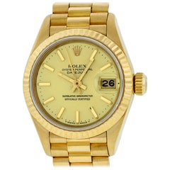Rolex Women's Datejust President Watch 18 Karat Gold Champagne Index Dial