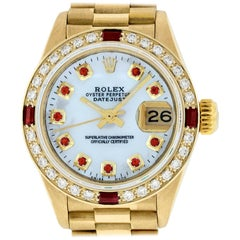 Rolex Women's Datejust President Watch 18K Yellow Gold MOP Diamond Dial Ruby