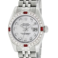 Rolex Women's Datejust Watch 179160 SS or 18 Karat Gold Silver Diamond Dial