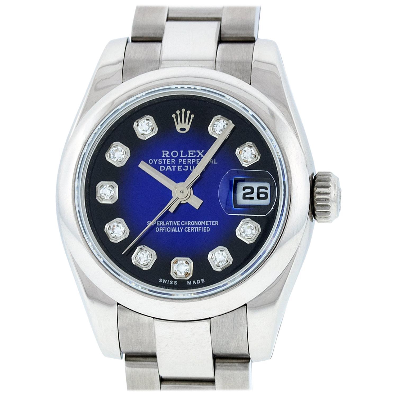 Rolex Women's Datejust Watch 179160 Stainless Steel Blue Vignette Diamond Dial