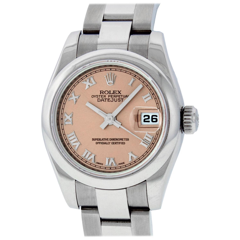 Rolex Women's Datejust Watch 179160 Stainless Steel Salmon Roman Dial
