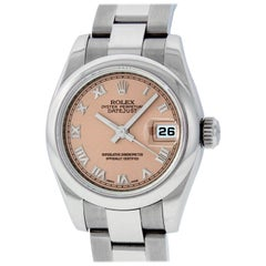 Rolex Women's Datejust Watch 179160 Stainless Steel Salmon Roman Dial