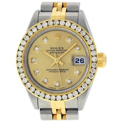 Rolex Women's Datejust Watch S/Steel / 18 Karat Gold Champagne Diamond Dial