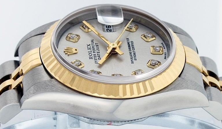 Rolex Women's Datejust Watch Stainless Steel / 18 Karat Gold Silver Diamond Dial For Sale 6