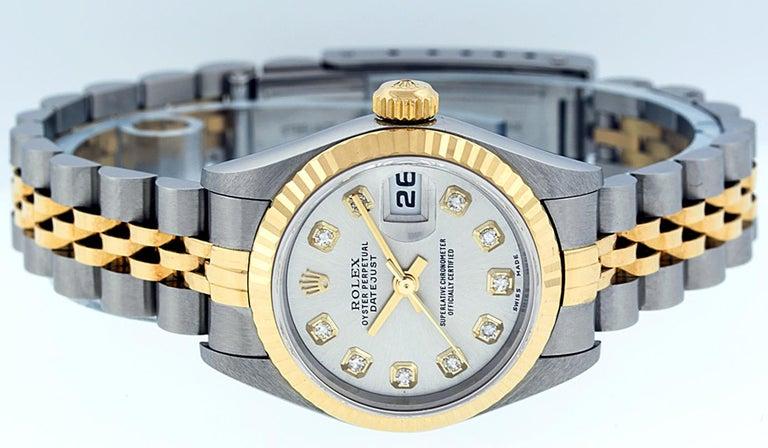 Round Cut Rolex Women's Datejust Watch Stainless Steel / 18 Karat Gold Silver Diamond Dial For Sale