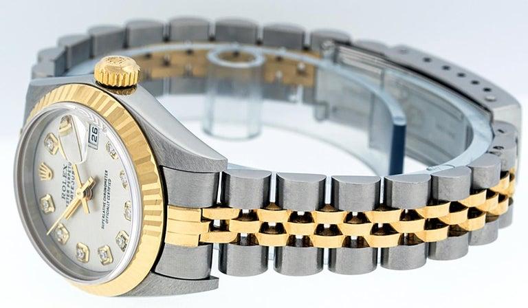 Rolex Women's Datejust Watch Stainless Steel / 18 Karat Gold Silver Diamond Dial For Sale 4