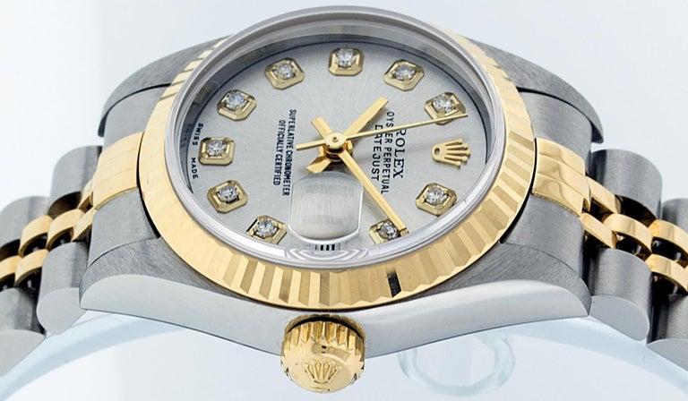 Rolex Women's Datejust Watch Stainless Steel / 18 Karat Gold Silver Diamond Dial For Sale 5