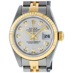 Rolex Women's Datejust Watch Stainless Steel / 18 Karat Gold Silver Diamond Dial