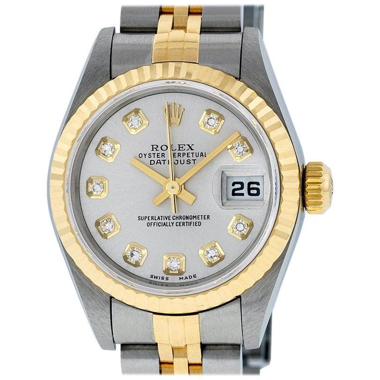 Rolex Women's Datejust Watch Stainless Steel / 18 Karat Gold Silver Diamond Dial For Sale