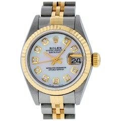 Rolex Women's Datejust Watch Stainless Steel 18 Karat Gold Mop Diamond Dial