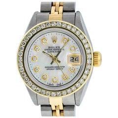 Rolex Women's Datejust Watch Stainless Steel or 18 Karat Gold MOP Diamond Dial