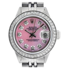 Rolex Women's Datejust Watch Stainless Steel Pink Mother of Pearl Diamond Dial