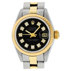 Rolex Women's Datejust Watch Steel / 18 Karat Gold Black Diamond Dial Fluted