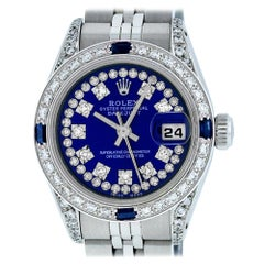 Rolex Women's Datejust Watch Steel/18 Karat Gold Blue Diamond Dial Sapphire