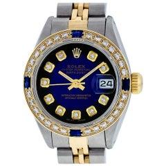 Rolex Women's Datejust Watch Steel / 18 Karat Gold Blue Diamond Dial Sapphire