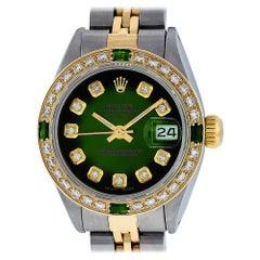 Rolex Women's Datejust Watch Steel / 18 Karat Gold Green Diamond Dial Emerald