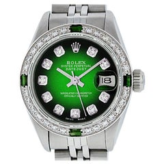 Rolex Women's Datejust Watch Steel 18 Karat Gold Green Vignette Diamond Dial