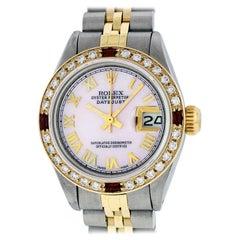Rolex Women's Datejust Watch Steel/ 18 Karat Gold Pink Roman Diamond Dial Ruby