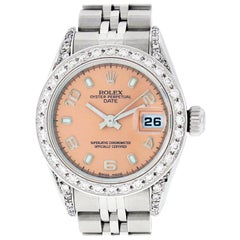 Rolex Women's Datejust Watch Steel / 18 Karat Gold Salmon Arabic Dial Diamond