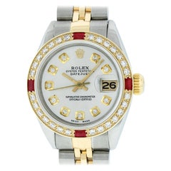 Rolex Women's Datejust Watch Steel / 18 Karat Gold Silver Diamond Dial Ruby