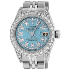 Rolex Women's Datejust Watch Steel/18 Karat Gold Sky Blue Diamond Dial