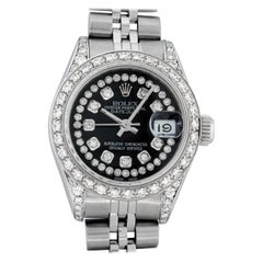 Rolex Women's Datejust Watch Steel 18 Karat White Gold Black String Diamond Dial