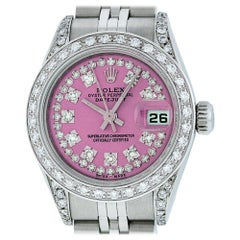Rolex Women's Datejust Watch Steel/18 Karat White Gold Pink String Diamond Dial