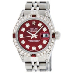Rolex Women's Datejust Watch Steel/18 Karat White Gold Red Diamond Dial Ruby