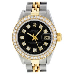 Rolex Women's Datejust Watch Steel / 18 Karat Yellow Gold Black Diamond Dial