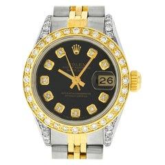 Rolex Women's Datejust Watch Steel / 18 Karat Yellow Gold Black Diamond Dial