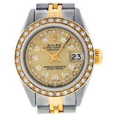 Rolex Women's Datejust Watch Steel / 18 Karat Yellow Gold Champagne Diamond Dial