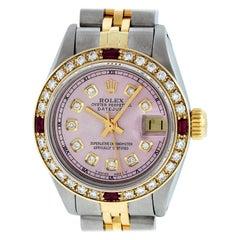 Rolex Women's Datejust Watch Steel / 18 Karat Yellow Gold Pink Diamond Dial Ruby