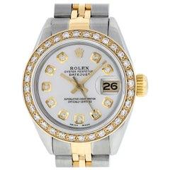 Rolex Women's Datejust Watch Steel / 18 Karat Yellow Gold Silver Diamond Dial