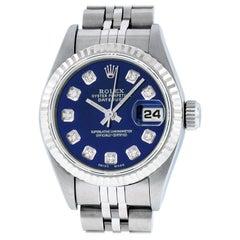 Rolex Women's Datejust Watch Steel / 18 Karat White Gold Blue Diamond Dial