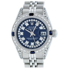 Rolex Women's Datejust Watch Steel/18 Karat White Gold Blue String Diamond Dial